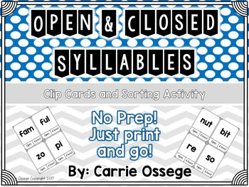 Open and Closed Syllable Clip Cards