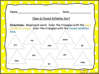 Open and Closed Syllable Coloring Sort