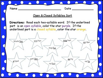 Open and Closed Syllable Coloring Sort - 2 and 3 Syllable Words