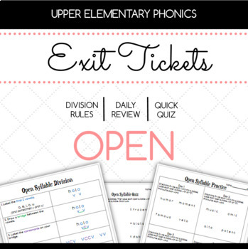 Open and Closed Syllable Exit Tickets