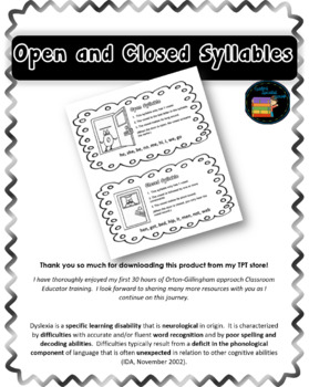 Open and Closed Syllable OG Phonics Notebook Page