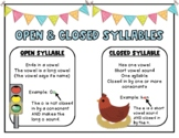 Open and Closed Syllable Poster