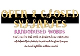 Open and Closed Syllable - Randomised Word (Task Cards or