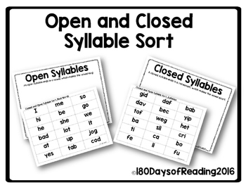 open and closed syllable sort by 180 days of reading tpt. Black Bedroom Furniture Sets. Home Design Ideas