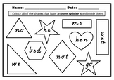 Open and Closed Syllables- Colour the shape activity