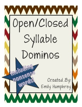 Open and Closed Syllables Dominos (with bonus Nonsense Words!)