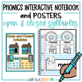 Open and Closed Syllables Interactive Notebook Activities and Posters
