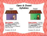 Open and Closed Syllables Poster or Anchor Chart Orton-Gillingham House Method