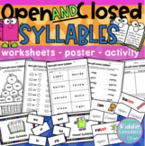 Open and Closed Syllables Worksheets, Poster, and Activity - OG
