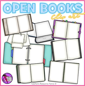 Open Books and Folders clip art