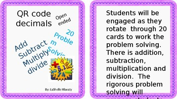 Open ended Decimal problem solving all operation format