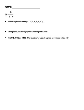 Open-ended questions algebra rational functions and limits