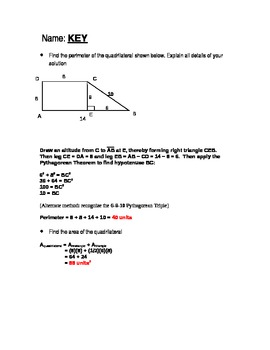 Open-ended questions geometry perimeter and area (w/missing information)