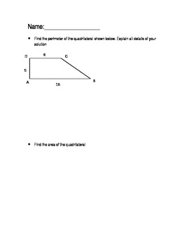 Open-ended questions geometry perimeter and area (w/missin