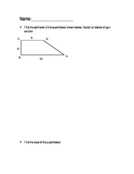 Open-ended questions geometry perimeter area and the Pythagorean Theorem