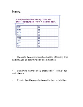 Open-ended questions theoretical and experimental probability