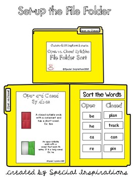 Open vs. Closed Syllables File Folder Sort (Orton-Gillingham Based)