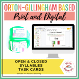 Open vs. Closed Syllables Task Cards | Print & Digital | G