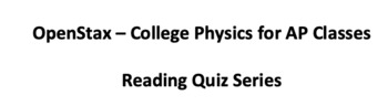 OpenStax College Physics for AP Classes Chapter 2 Reading Quiz Set