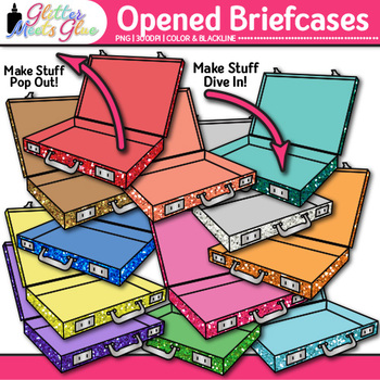 Opened Briefcases Clip Art {Vacation & Business Graphics for Transportation Use}
