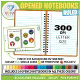 Opened Notebooks Clip Art (Ruled)