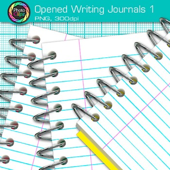 Opened Writing Journal Clip Art {Back to School Supplies for ELA Resources} 1