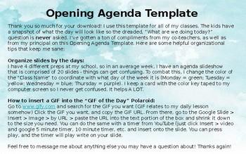 Opening Agenda Template