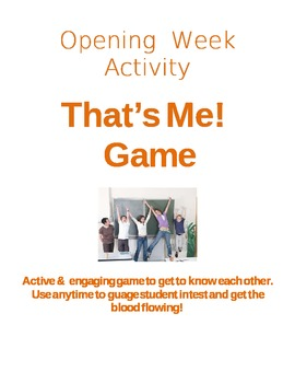 Opening Day Activity - That's Me! Game