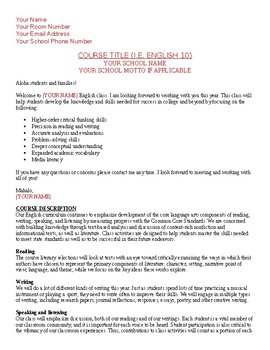 Opening Day Generic Course Syllabus