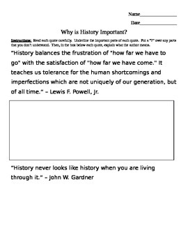 """Opening Day """"Why is History Important?"""" 7th Grade"""