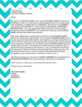 Opening Letter / Meet the Teacher