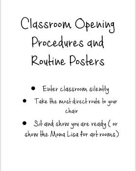 Opening Procedures Posters