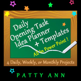 Opening Task Classroom Planner Template > Generic 4 ALL Subjects ~ EDITABLE PPT!