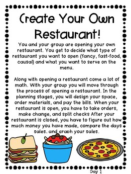 Opening a Restaurant- Combining Math and Real World Scenarios.