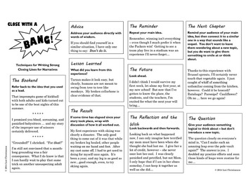 Strong Leads and Closing Lines for Narratives {Printable Resource}
