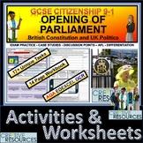 Opening of UK Parliament Student Work Booklet & Activities