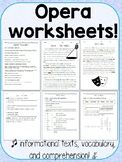 Opera Worksheets - Reading Comprehension and Vocab