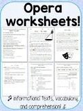 Opera Worksheets - Reading Comprehension and Vocab