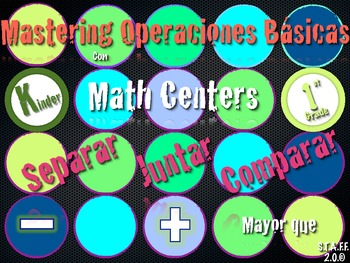 Operaciones Basicas Sumar, Restar, Comparar Math Center Kinder Aligned Cscope