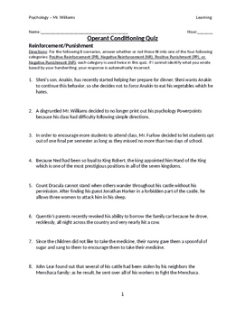 Operant Conditioning Quiz with Answer Key