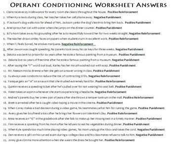 Operant Conditioning Worksheet Operant Conditioning W...