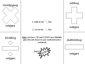 Operating with Integers Foldable