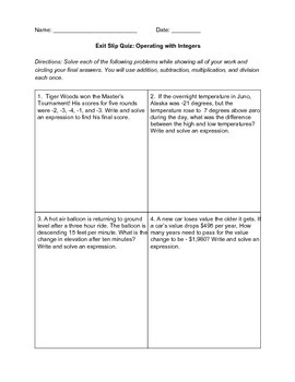 Operating with Integers Task Cards
