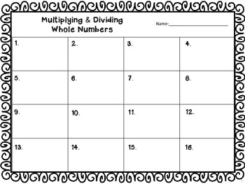 Operation Christmas - Multiplying and Dividing Whole Numbers with QR Codes