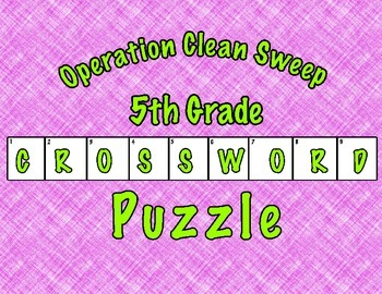 Operation Clean Sweep Vocabulary Crossword Puzzle