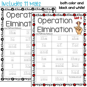 Operation Elimination Dolch Sight Words - Interactive Videos