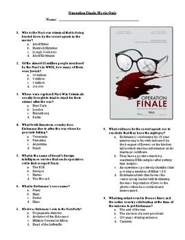 Operation Finale Movie Quiz