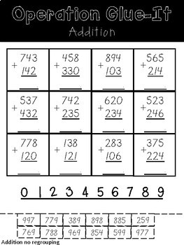 Operation Glue It- 3-digit Addition and Subtraction (14 versions)