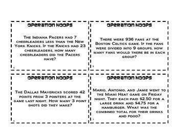 Operation Hoops!  Basic Math Operations