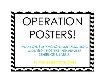Math Operation Posters (B & W Chevron W/ Teal & Yellow)
